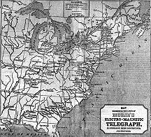 A map showing all the telegraph lines in the U.S. as of 1848