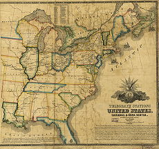Map showing the telegraph lines